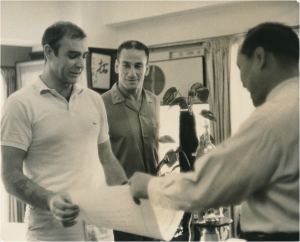 Mas Oyama presenting Sean Connery with Honorary Black Belt Certificate in August 1966.